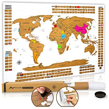 Amazoncom Premium Scratch Off World Map Poster Large World - World map of the united states