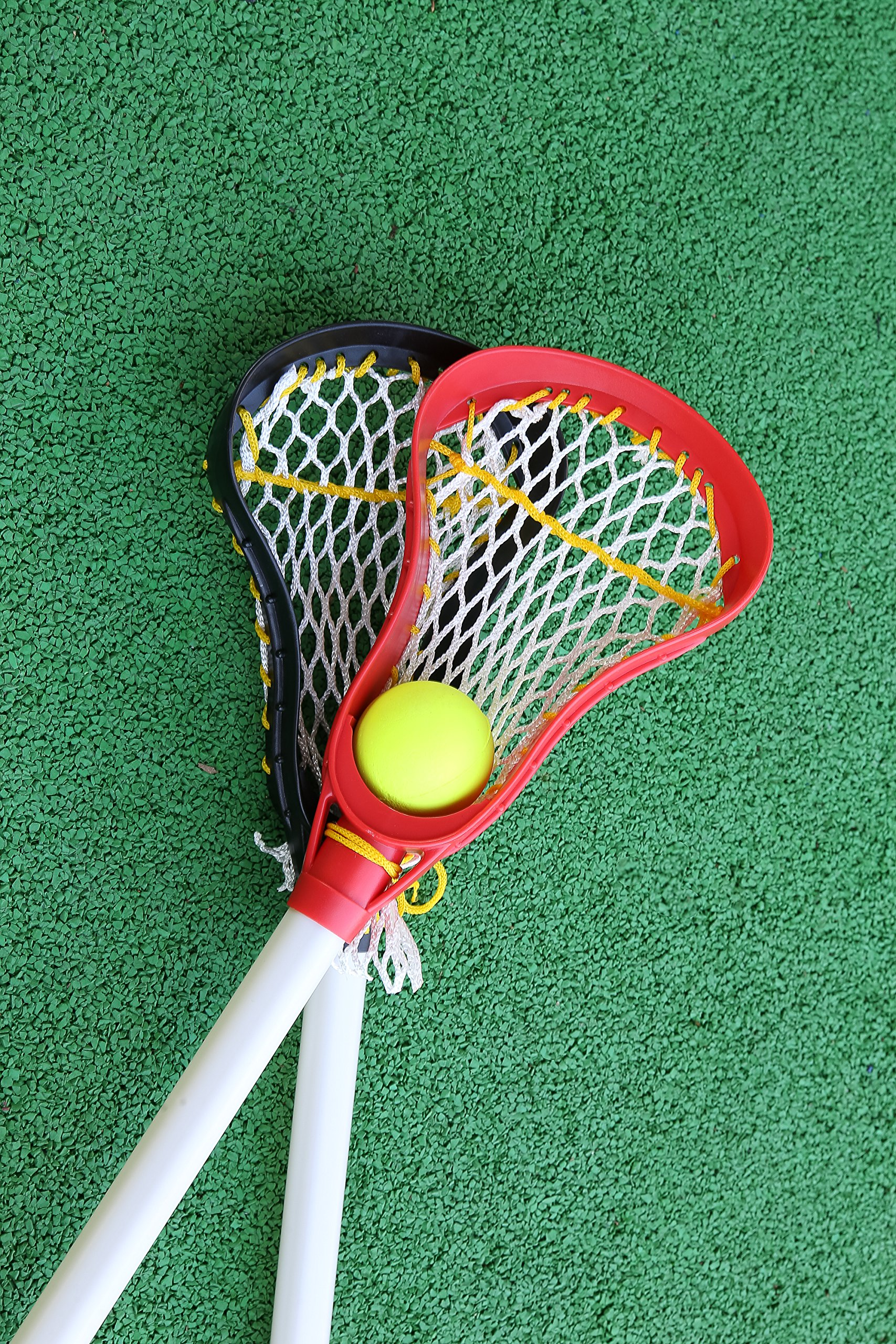 Kids Lacrosse Sticks - 2 Sticks (30 Inches) & 1 Ball - Soft Mesh Pockets, Durable Plastic Handles, & Large Head Design by Junior Lacrosse (Image #3)