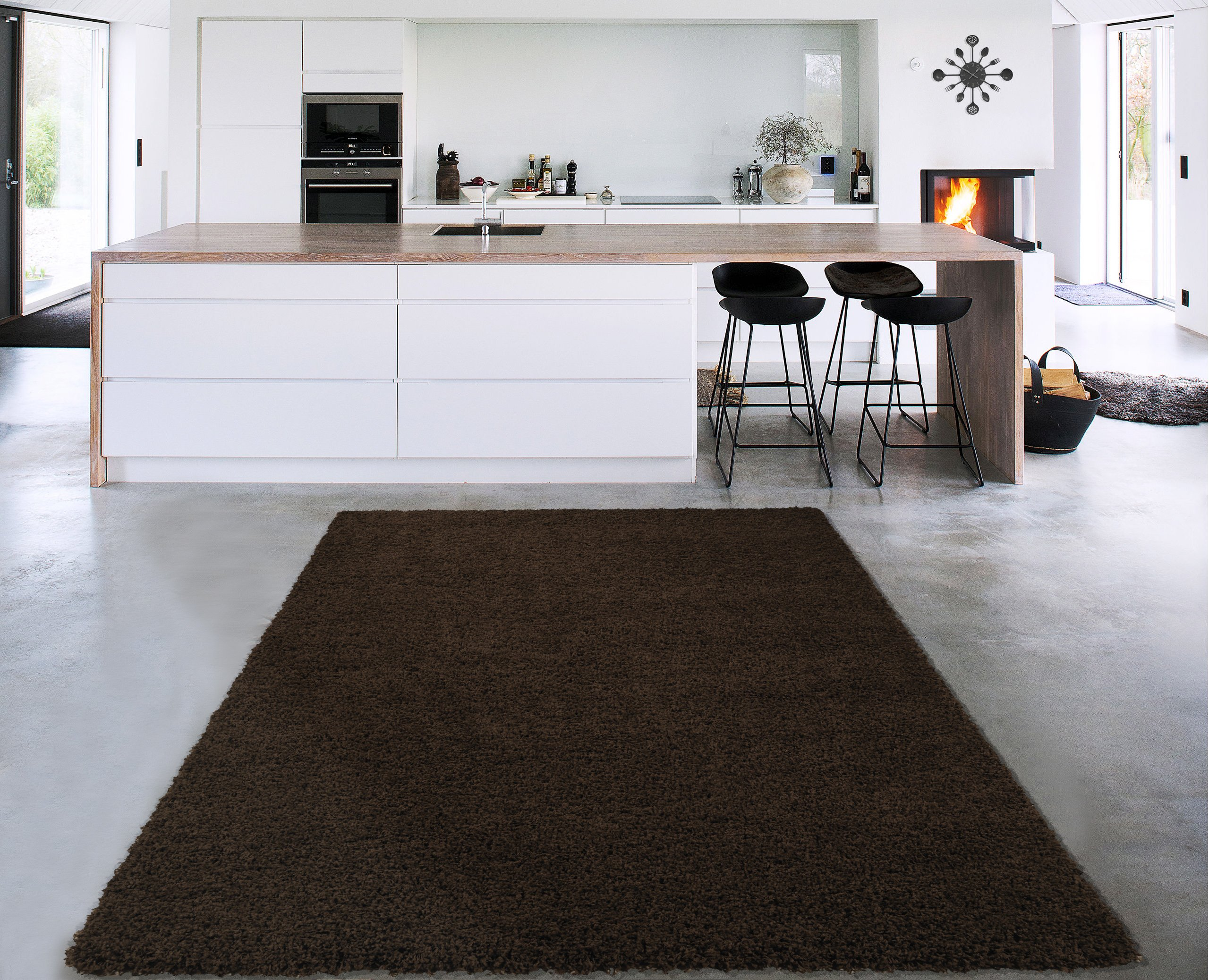 Sweet Home Stores Cozy Shag Collection Solid Shag Rug Contemporary Living & Bedroom Soft Shaggy Area Rug, 79'' L x 111'' W,  Brown