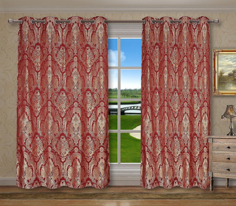 Grommets Window Curtains Panels for Bedroom Vintage Damask Floral, Burgundy
