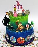 Mario Brothers 23 Piece Birthday Cake Topper Set Featuring Mario Castle, Bomb, Mario Coins, 6 Mario Figures Including…