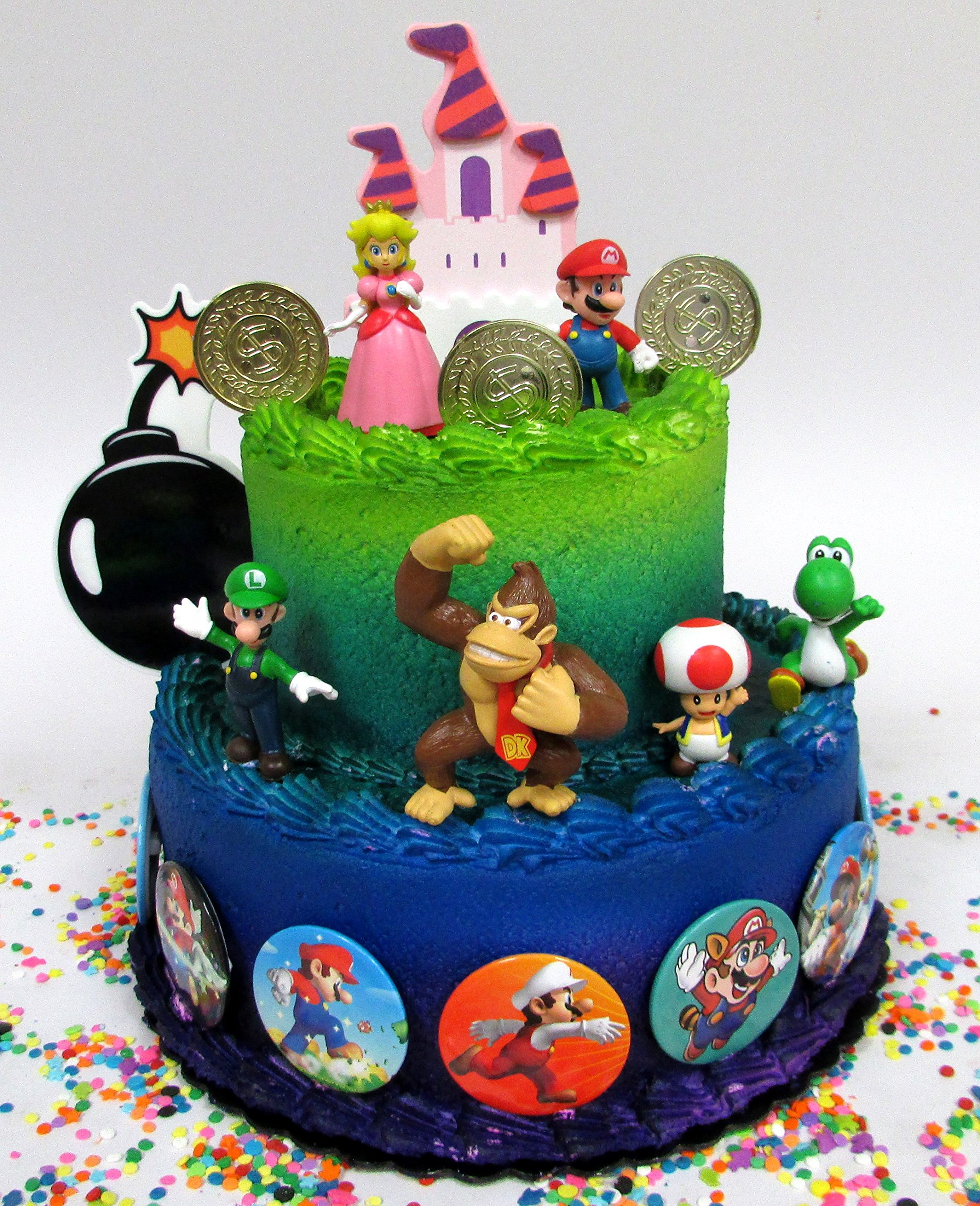 Mario Brothers 23 Piece Birthday Cake Topper Set Featuring Mario Castle, Bomb, Mario Coins, 6 Mario Figures Including Mario, Luigi, Princess Peach, Toad, Yoshi, Donkey Kong, and 12 Mario 1'' Decorative Buttons by Super Mario Brothers