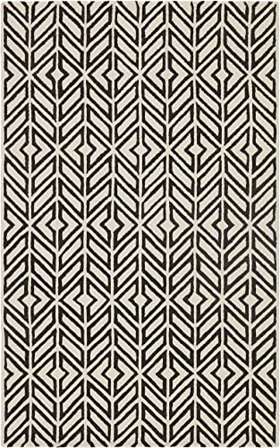 Rivet Contemporary Handtufted Cotton-and-Wool Rug with Geometric Feathered Pattern, 5 x 8 , Black and Cream