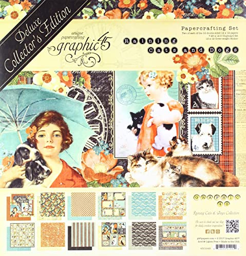 Graphic 45 Raining Cats Dogs Deluxe Collector s Edition Paper Pack, Multi