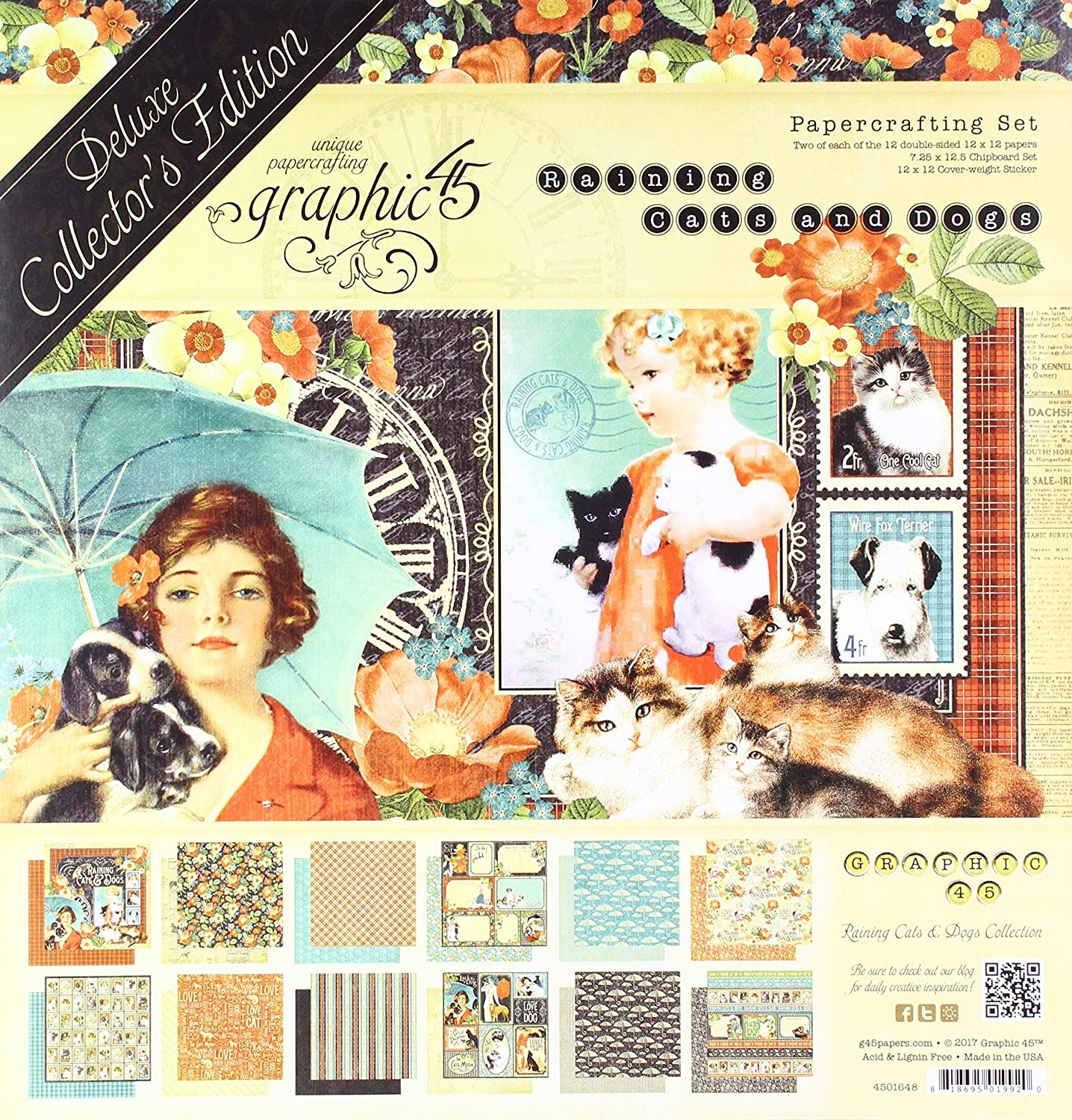 12x12 Inches Raining Cats and Dogs 4501648 - Deluxe Collectors Edition Graphic 45 Multicoloured