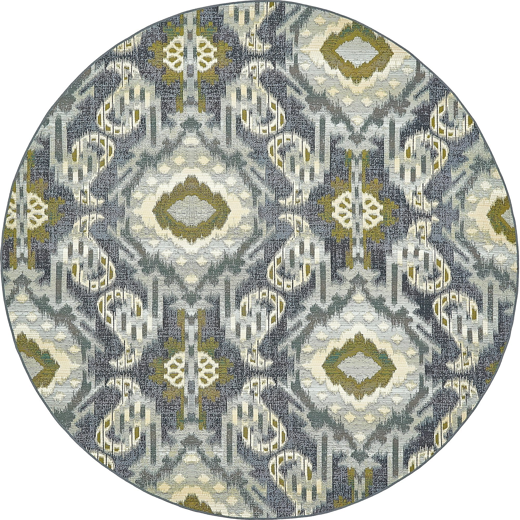 Unique Loom Eden Outdoor Collection Blue 8 ft Round Area Rug (8' x 8')
