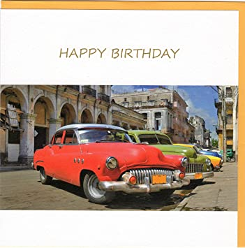 Fine Art Birthday Card With QuotHappy Vintage Car In Havana Stucco