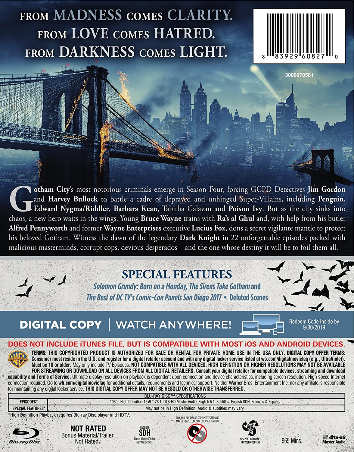 9b0340d6d6 Amazon.com: Gotham: The Complete Fourth Season (BD) [Blu-ray]: Ben  McKenzie, Donal Logue, David Mazouz, Morena Baccarin, Sean Pertwee, Robin  Lord Taylor, ...