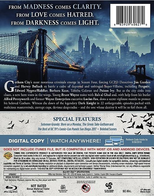 a8ae3d6b6fa Amazon.com  Gotham  The Complete Fourth Season (BD)  Blu-ray   Bruno  Heller
