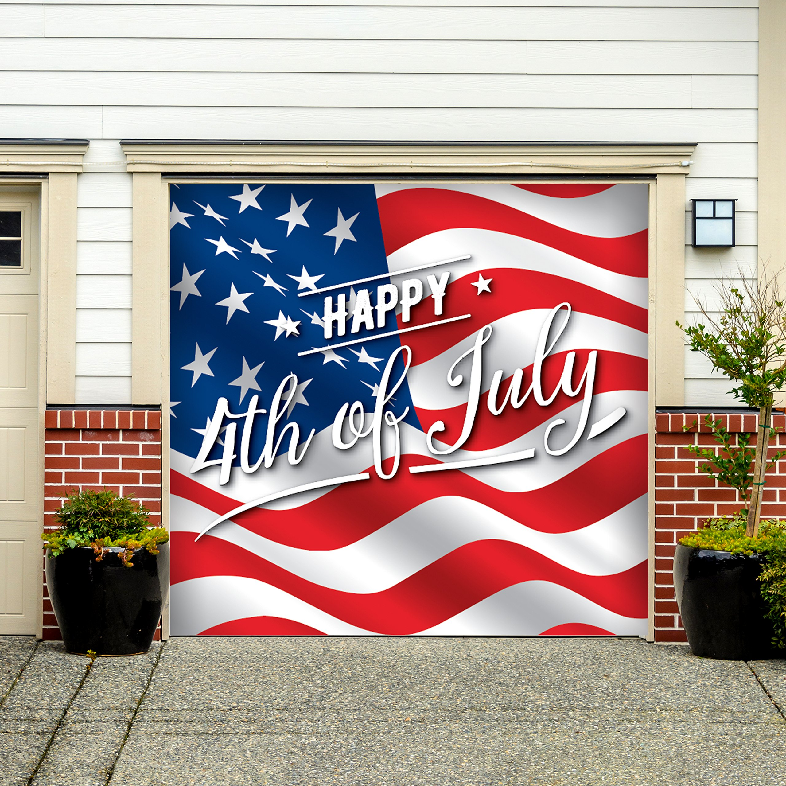 Outdoor Patriotic American Holiday Garage Door Banner Cover Mural Décoration - American Flag Happy 4th of July - Outdoor American Holiday Garage Door Banner Décor Sign 7'x 8'