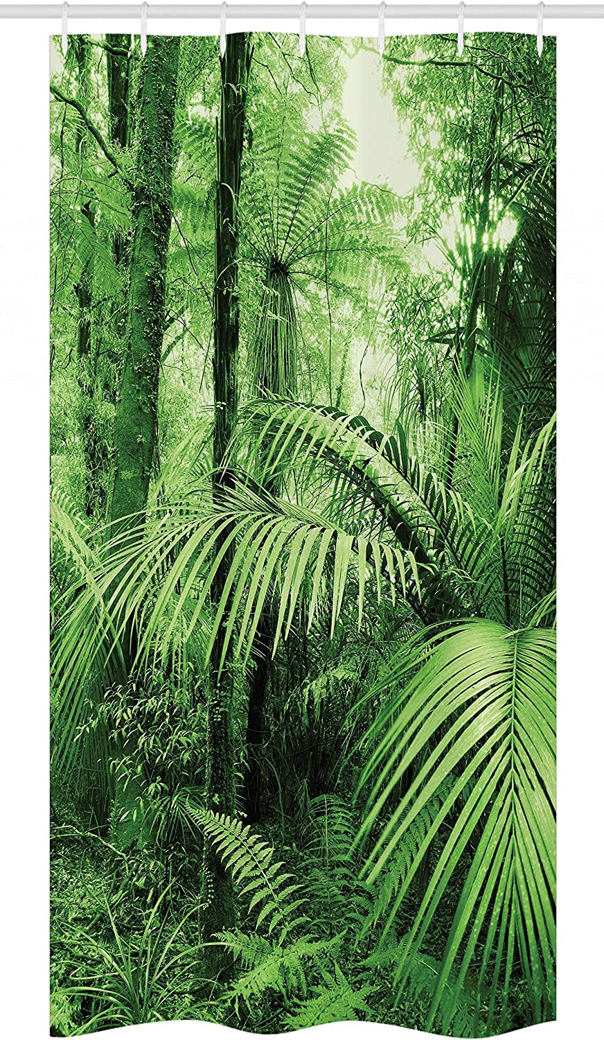 """Ambesonne Rainforest Stall Shower Curtain, Palm Trees and Exotic Plants in Tropical Jungle Wild Nature Theme Illustration, Fabric Bathroom Decor Set with Hooks, 36"""" X 72"""", Green"""
