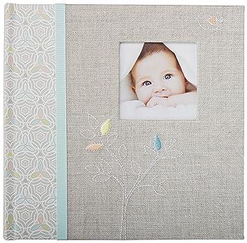 amazon com c r gibson s gray linen baby photo album baby