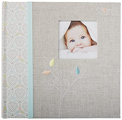 CR Gibson's Gray Linen Baby Photo Album Baby Photobook, 9 3 x 9 1 x 1 8  inches, 80 pages