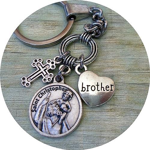 Amazon.com: St. Christopher Brother llavero w-cross y ...
