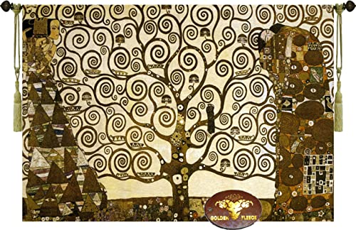 Stoclet Frieze by Gustav Klimt 47 W X 33 L Tree of Life Wall Hanging Tapestry Home Decor