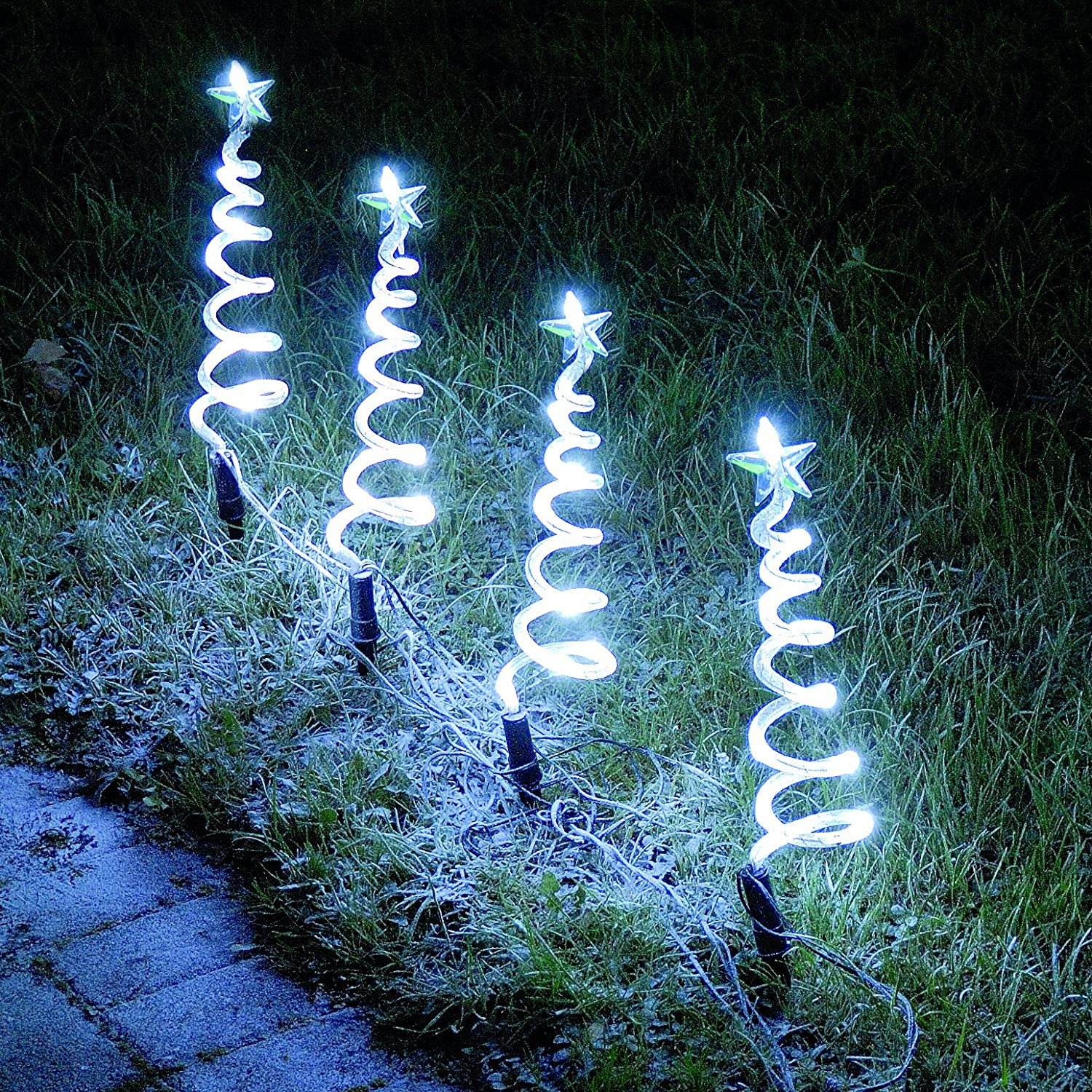 Christmas Decorations - Bright White Christmas Trees Pathway ...