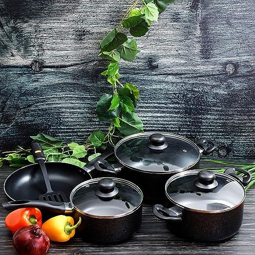 طقم أواني طهي من رويال فورد مضادة للالتصاق من الستانلس ستيل، 8 قطع، أسود – RF4999