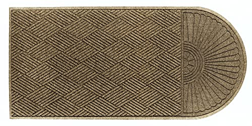 M A Matting 2248 Khaki PET Polyester WaterHog ECO Grand Premier Entrance Mat, Half Oval One End, 5.9 Length x 4 Width, for Indoor Outdoor
