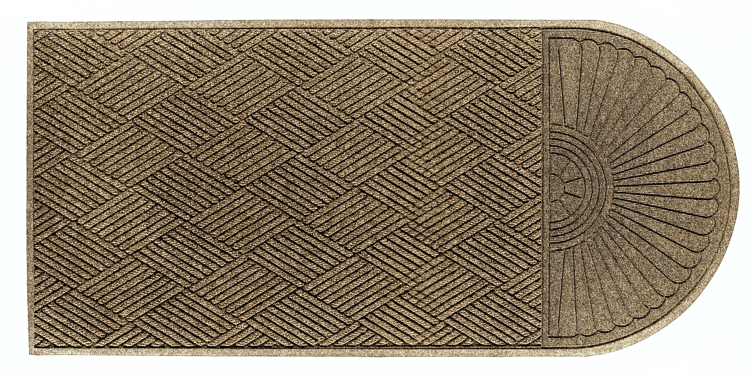 M+A Matting 22248 Waterhog Eco Grand Premier PET Polyester Fiber Single End Entrance Indoor/Outdoor Floor Mat, SBR Rubber Backing, 7' Length x 6' Width, 3/8'' Thick, Khaki