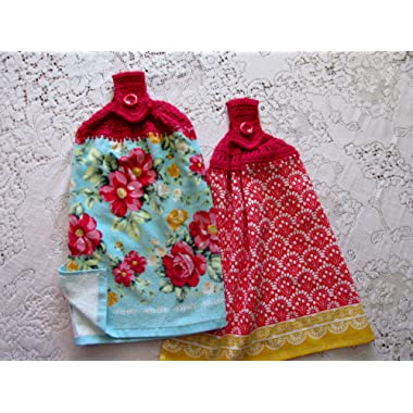 Set of 2 Double Layer Hanging Kitchen Hand Towels, Spring Flowers, Blue & Red Floral Pioneer Woman Best Quality Crochet Top Towels, Wedding Gift,