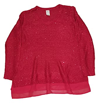 5dc87784a3 Faded Glory Women s Plus Size Classic Red Sequin Pullover Sweater - 3X