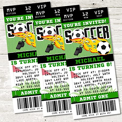 amazon com soccer birthday party ticket invitations soccer