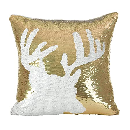 SARO LIFESTYLE Sequin Reindeer Design Holiday Down Down Filled Throw Pillow, 16 x 16 , Gold