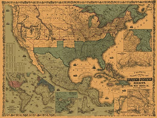 Map Of Old America.Amazon Com Maps Of The Past West Indies United States Mexico