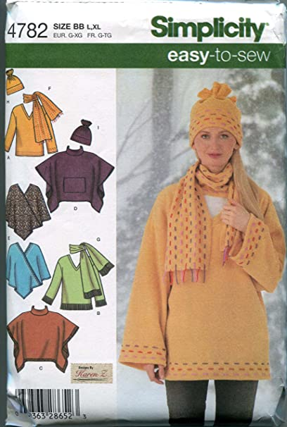 d84a24bde Amazon.com: Simplicity Pattern 4782 Misses' Loose-Fitting Pullover ...