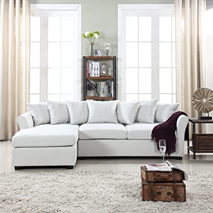 DIVANO ROMA FURNITURE Modern Large Linen Fabric Sectional Sofa, L-Shape Couch with Extra Wide Chaise Lounge (Beige)
