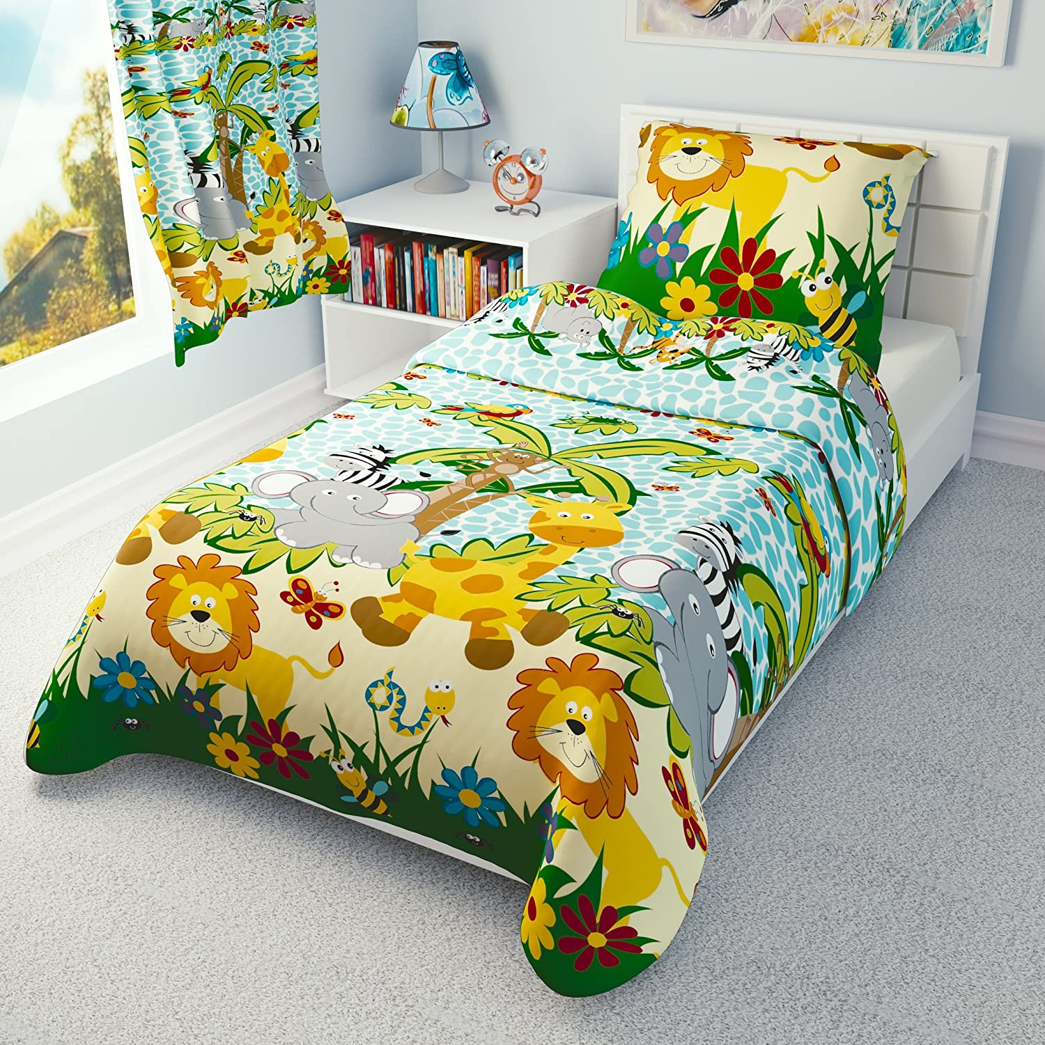 Pillowcase to fit Cot//Cot Bed//Toddler Bed 100/% Cotton 100x135 cm Jungle Animals Boys Nursery Bedding Set Duvet Cover