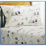 Divatex Home Fashions 100% Cotton Twin Flannel Sheet Set (Owl Design)