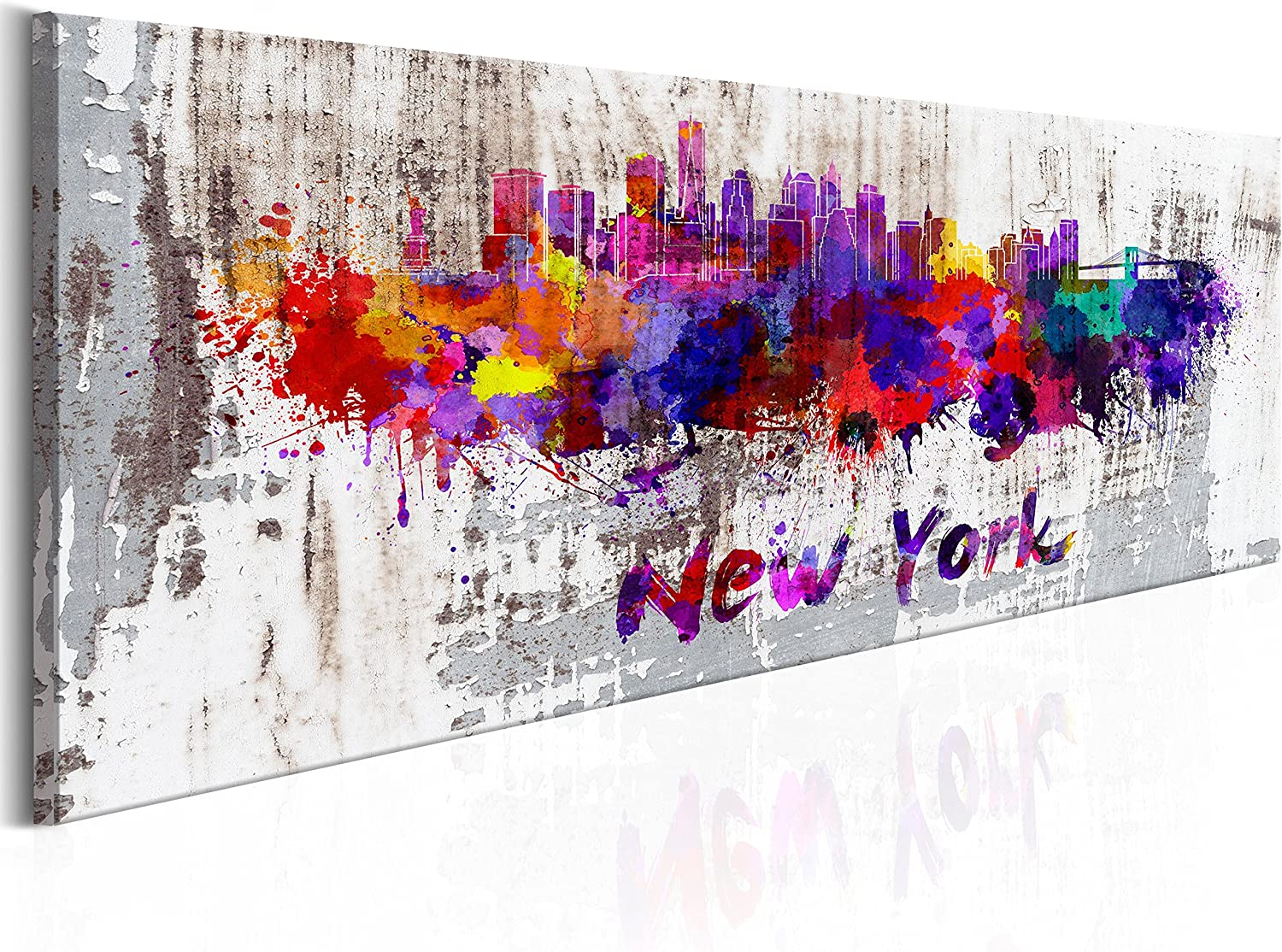 B/&D XXL murando Impression sur Toile intissee 120x40 cm 1 Piece Tableau Tableaux Decoration Murale Photo Image Artistique Photographie Graphique Abstraction Abstrait New York d-B-0047-b-a