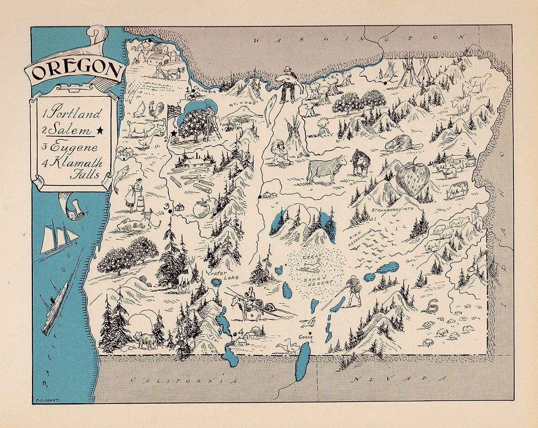 Vintage Oregon Map.Amazon Com Vintage Oregon State Map 1930s Blue Cartoon Map Of