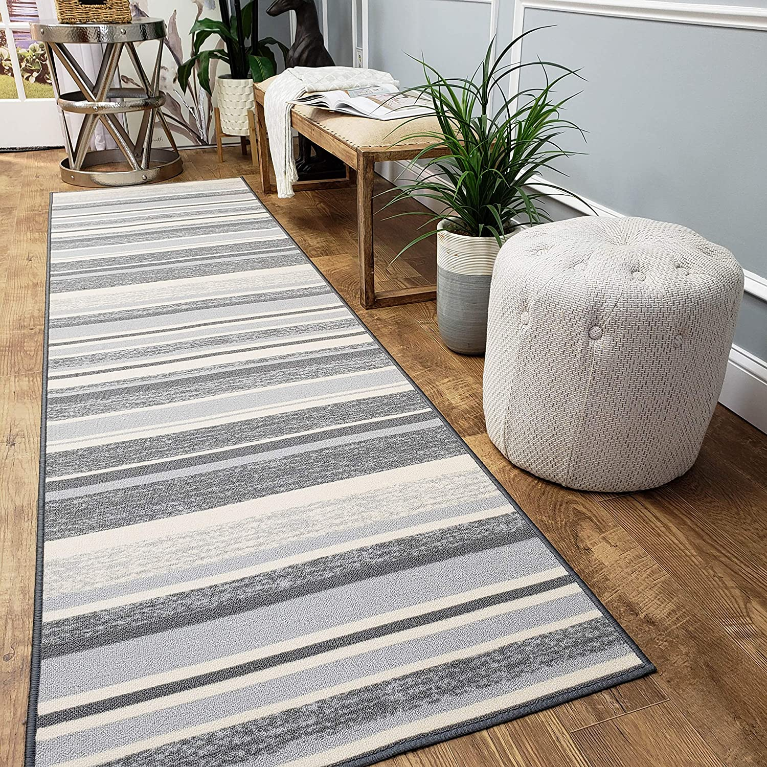 Custom Size Hallway Runner Rug - 22 in x 6 feet - Price Drops by Size - Rubber Backed Non Slip Stripes - Choose Width x Length