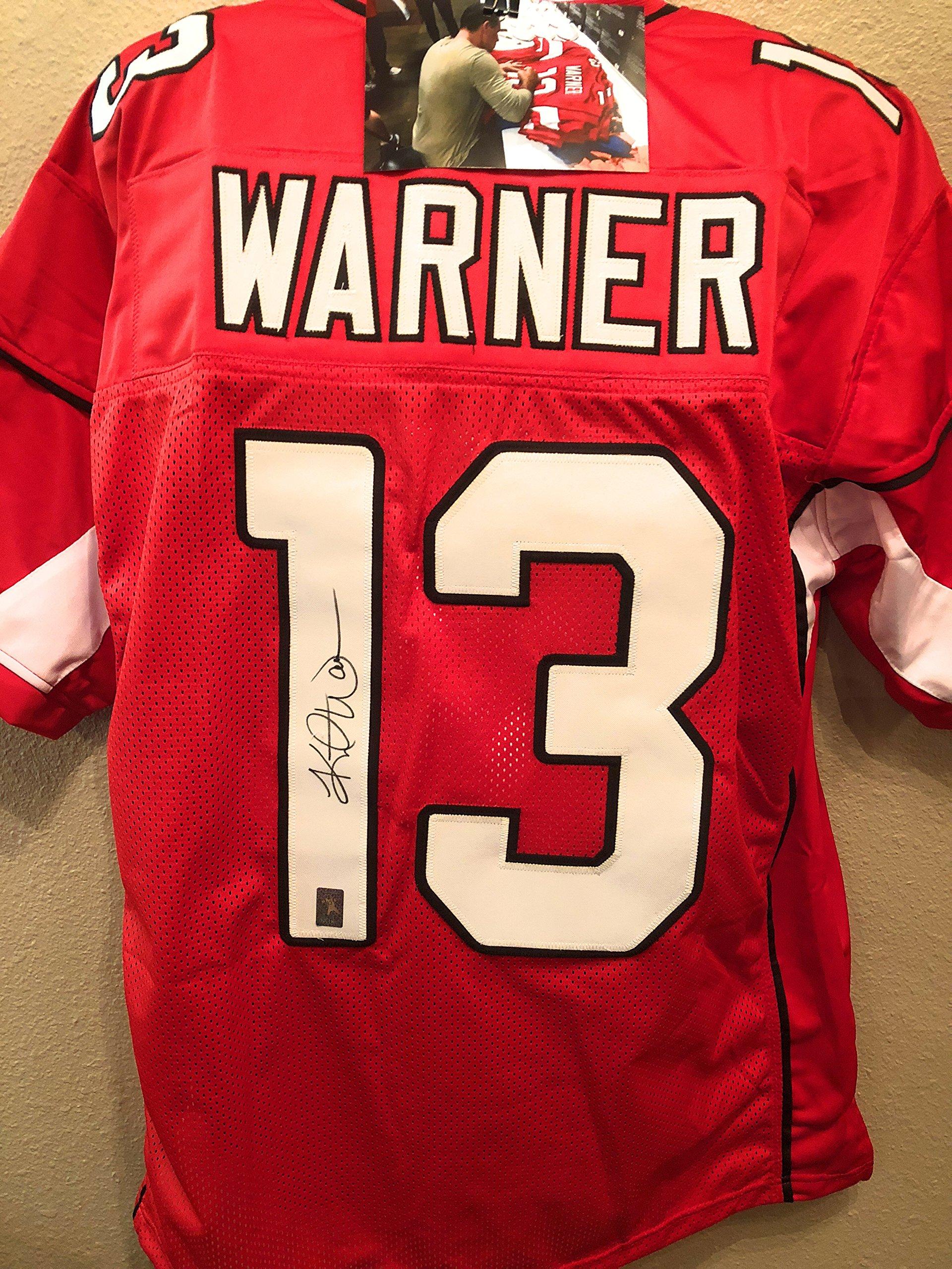 Kurt Warner Arizona Cardinals Signed Autograph Red Custom Jersey Warner Athlete Hologram W/Photo Proof