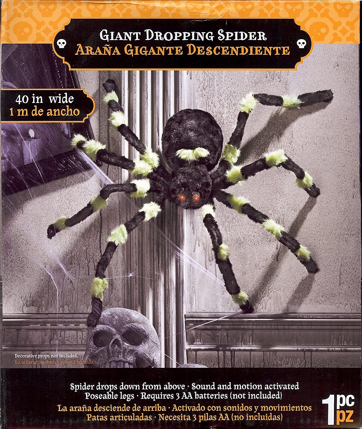 Amazon.com : Gemmy Dropping Spider Green : Home And Garden ...
