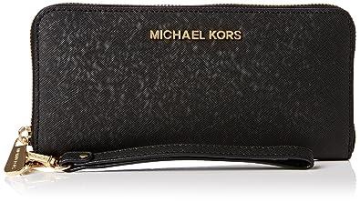 87b96b965de6 Michael Kors Womens Portefeuille Jet Set Travel Tech Continental Wallet 001  Black