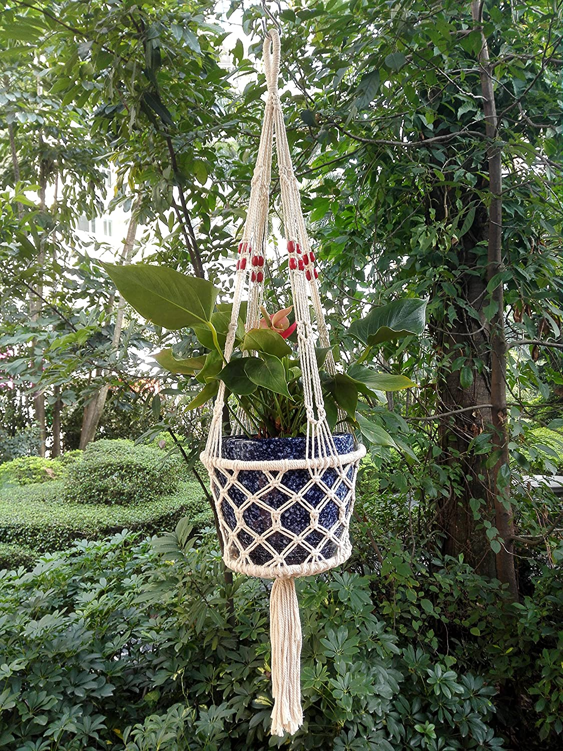 4 Legs Macrame Cotton Plant Holders with Bamboo Ring Inside with Wood Bead Decoration .Nautral Beige Color, 36-inches Length (Without the Pot and Plant)