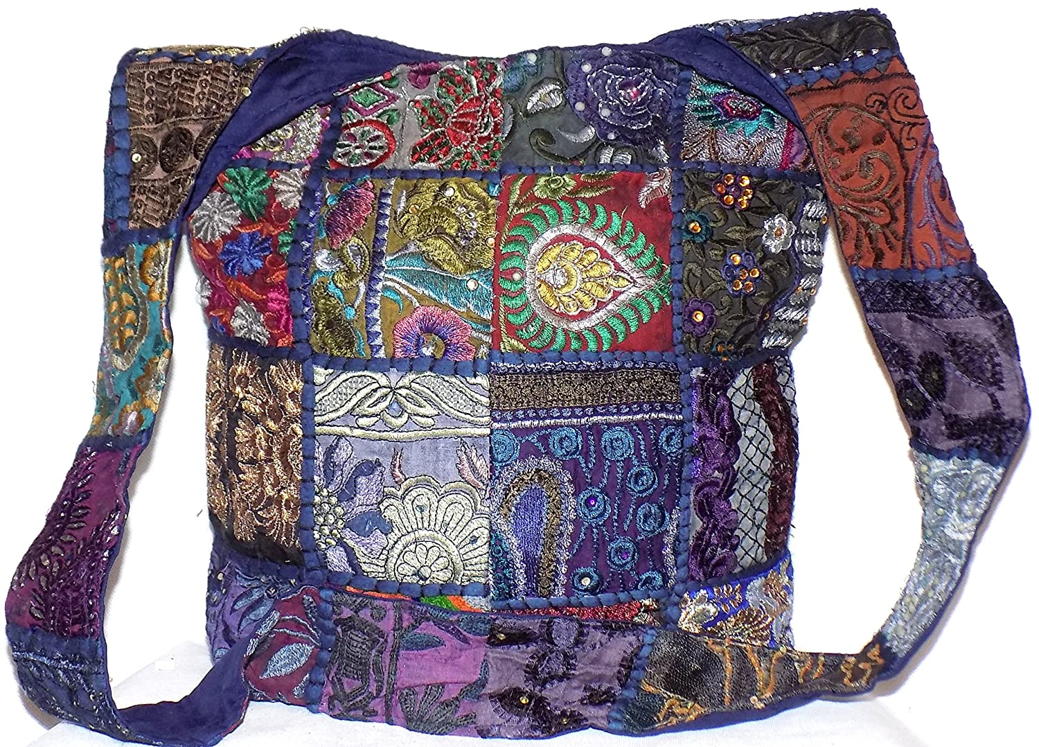 fbaf3e03f9 Patchwork Hippie Bag Navy Dark Blue   Multi Colour Patch Sequin Beads  Mirror Embroidered Large Cotton Boho Gypsy Hippy Sling Cross Body Festival  Beach ...