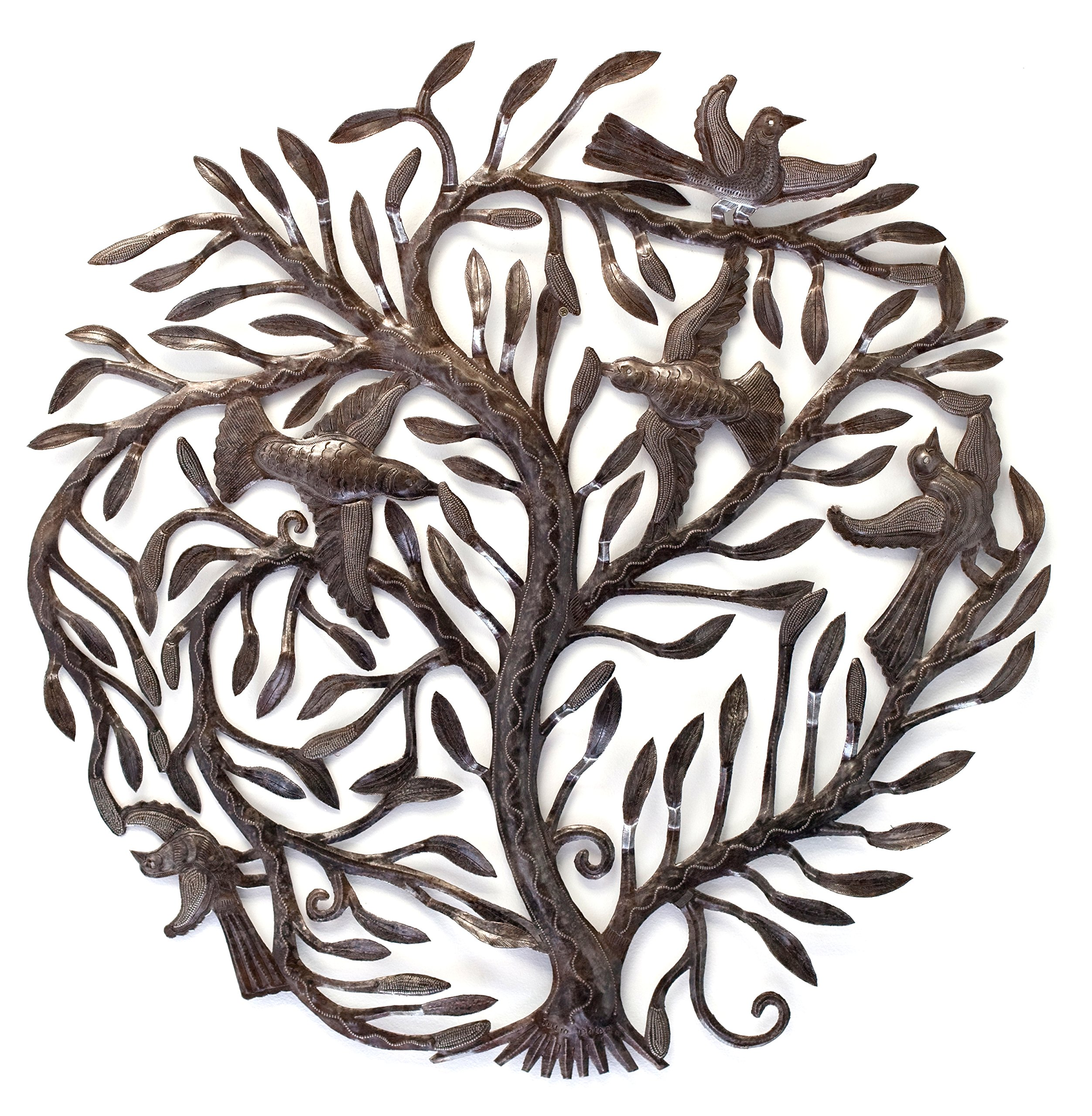 Family Tree of Life, Large Outdoor Wall Art Sculpture, Recycled Metal Haiti, 32'' x 32''