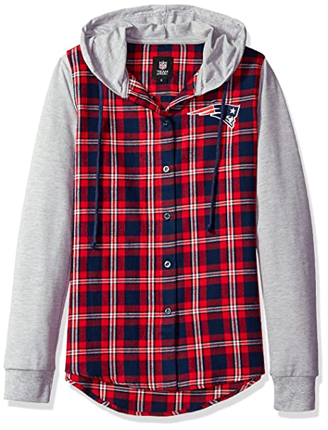 New England Patriots Lightweight Flannel Hooded Jacket - Womens Small 10e54124a
