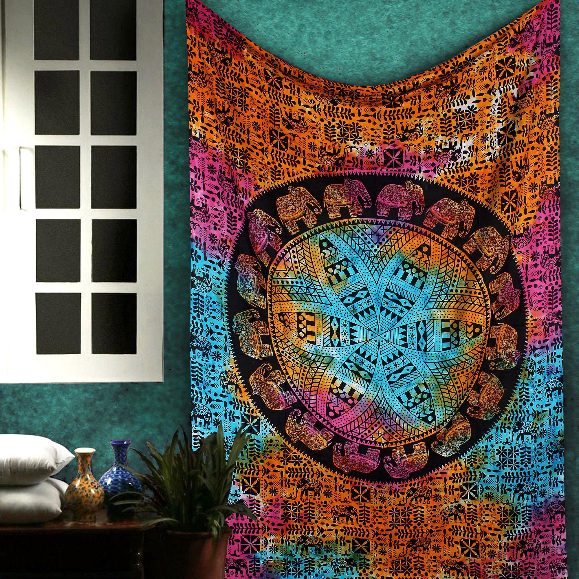 Multicolor Boho Mandala Tapestry - Hippie Wall Decor Indian Elephant Bohemian Art Hanging Trippy Tapestries Beach Throw College Dorm Decor Window Door Curtain