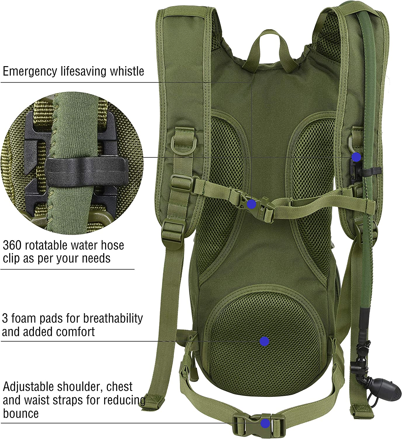 MARCHWAY Tactical Molle Hydration Pack Backpack with 3L TPU Water Bladder Biking Running Climbing Hiking Military Daypack for Cycling Hunting