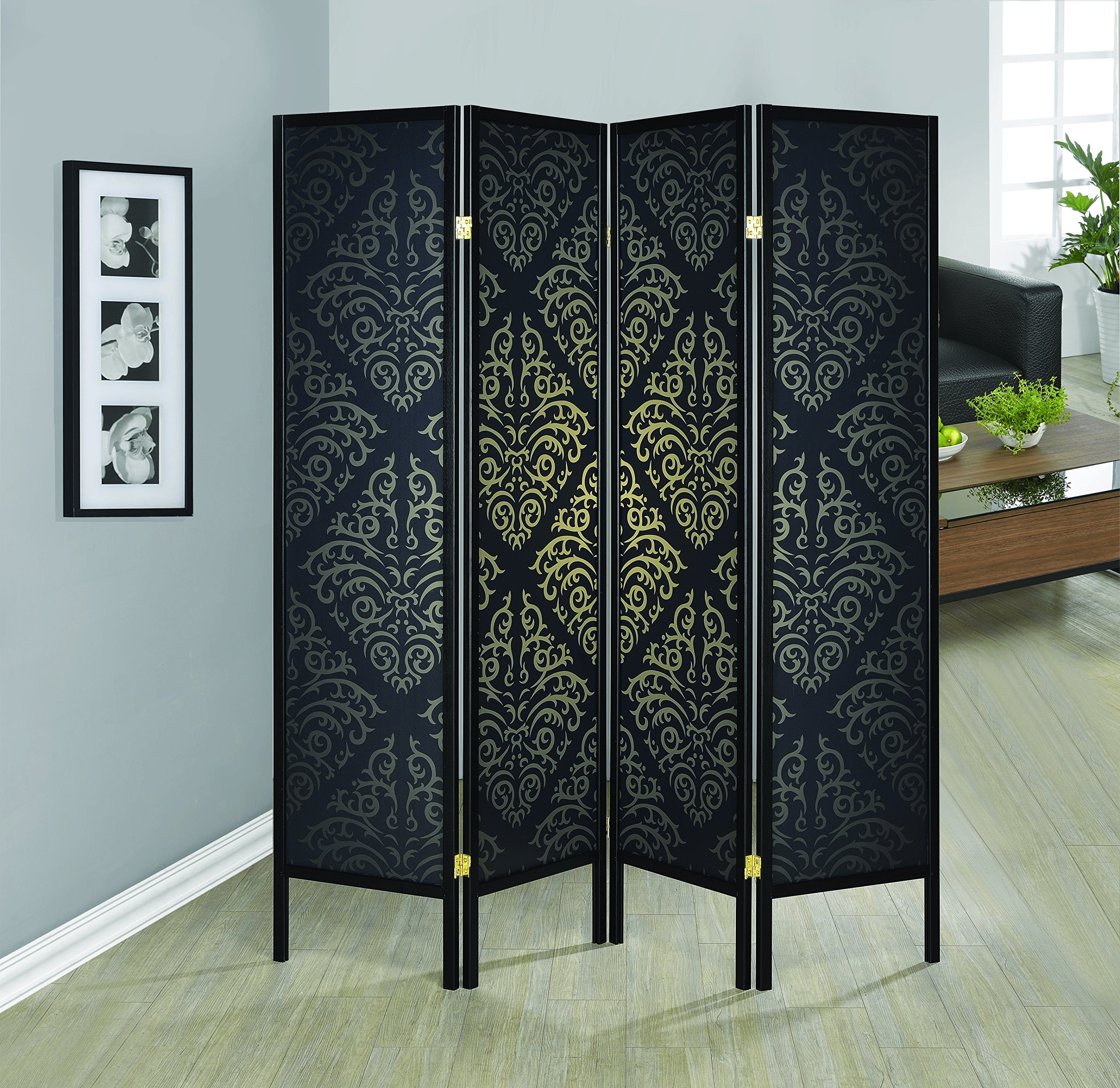 Coaster Home Furnishings 901632 Damask Print Folding Screen, NULL, Black by Coaster Home Furnishings (Image #1)