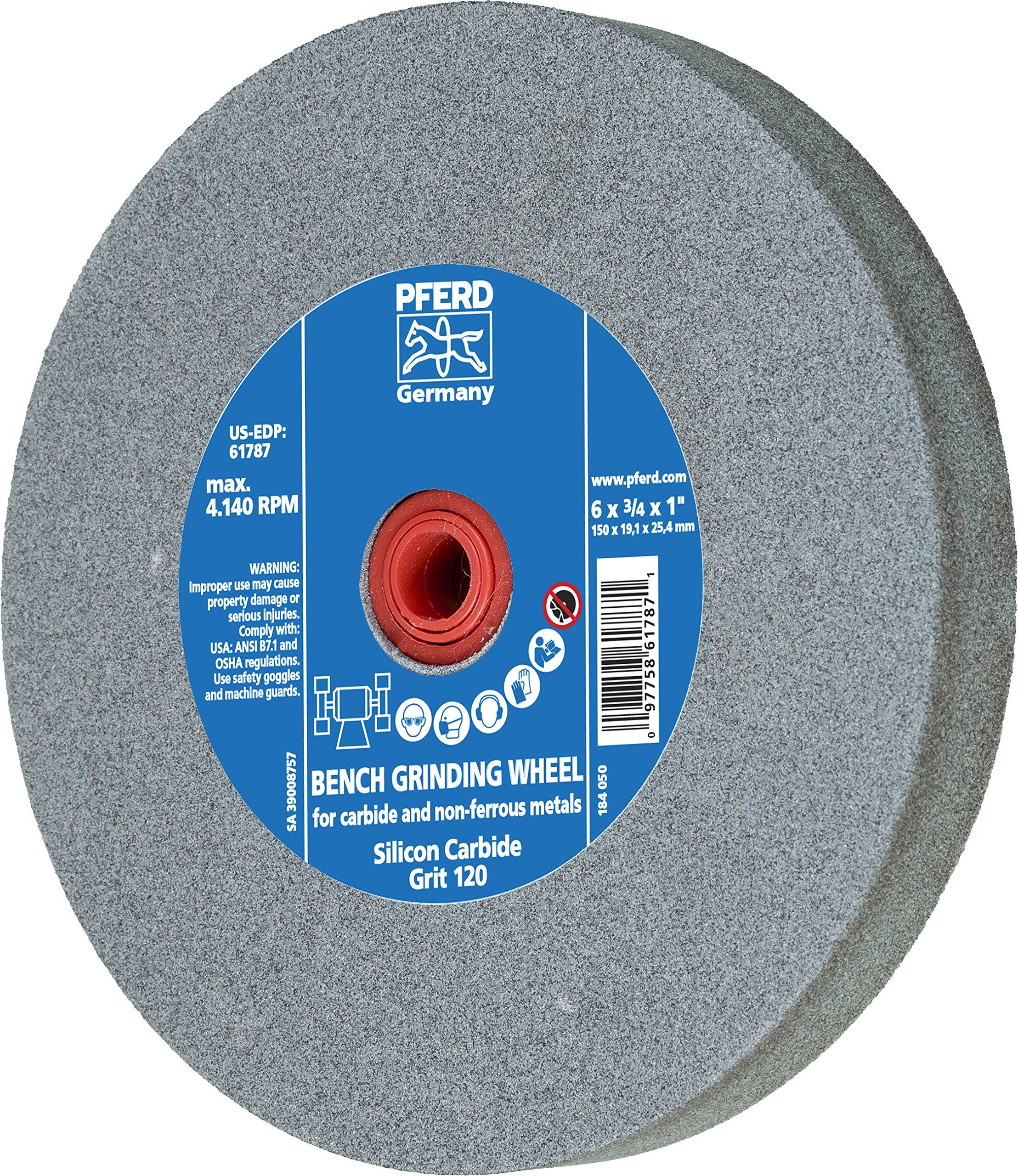 PFERD 61787 Bench Grinding Wheel, Silicon Carbide, 6'' Diameter, 3/4'' Thick, 1'' Arbor Hole, 120 Grit, 4140 Maximum RPM by Pferd