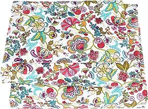 J-pinno Retro Luxurious Flower Twin Sheet Set for Kids Girls Children,100% Cotton, Flat Sheet + Fitted Sheet + Pillowcase Bedding Set