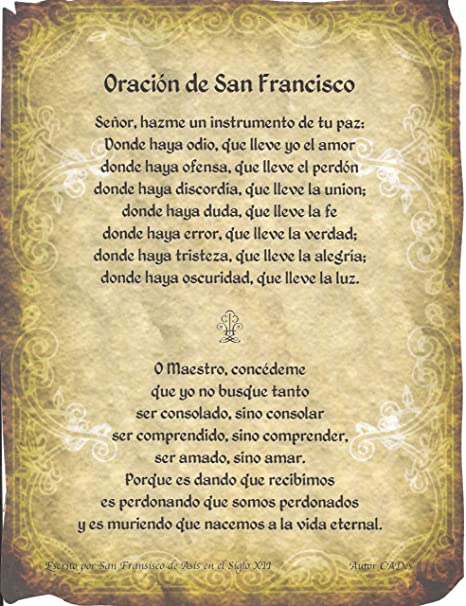 Amazon Com Oracion De San Francisco Asis Simple Prayer