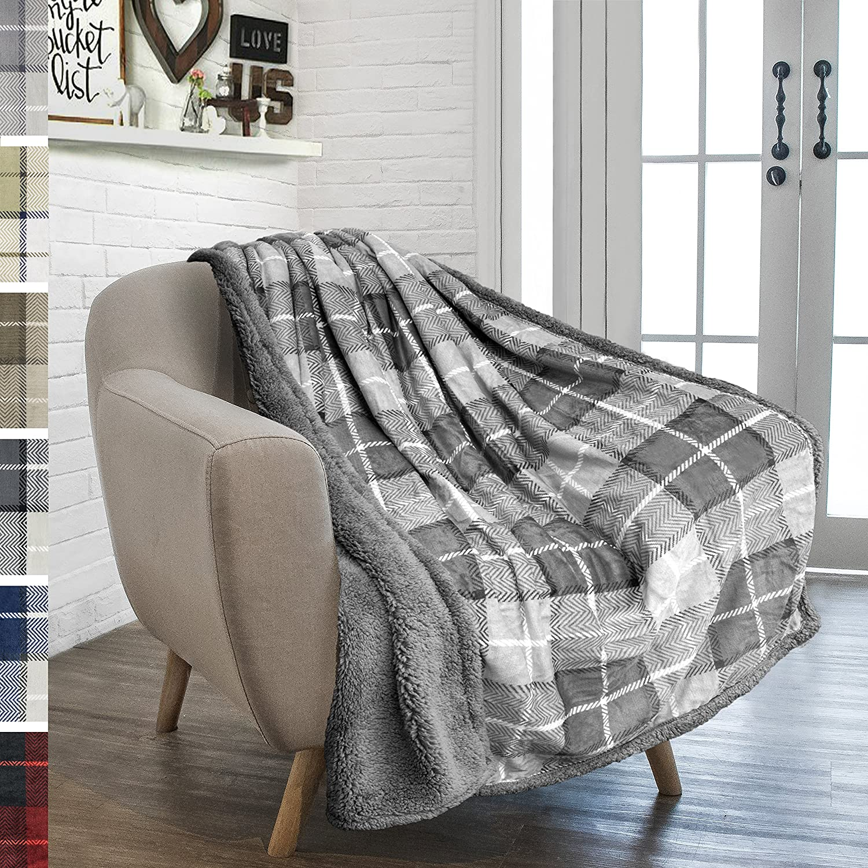 PAVILIA Premium Plaid Sherpa Fleece Throw Blanket   Super Soft, Cozy, Plush, Lightweight Microfiber, Reversible Throw for Couch, Sofa, Bed, All Season (50 X 60 Inches Light Grey)