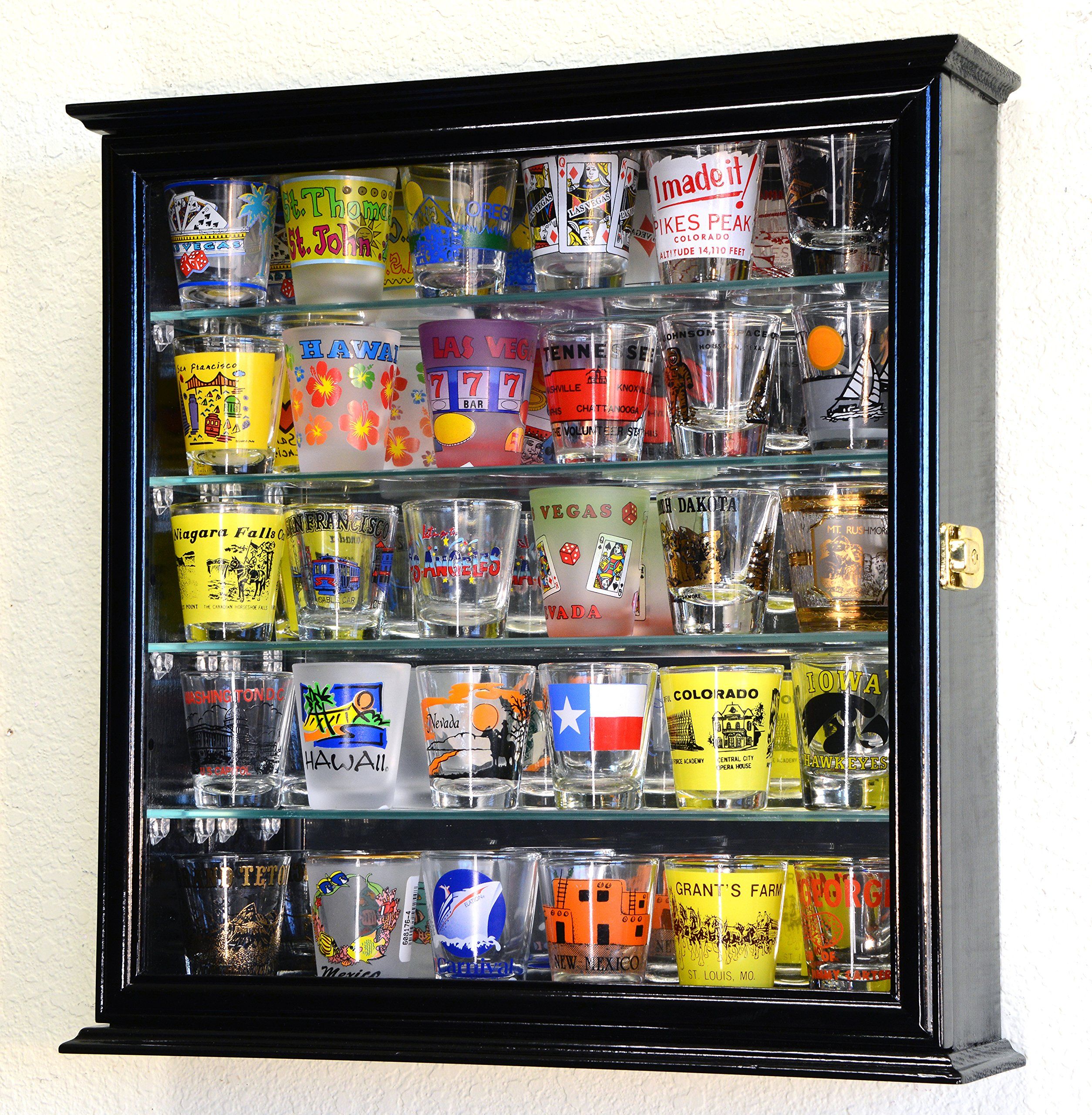 Shot Glasses Display Case Holder Cabinet Wall Rack w/ Mirror Backed and 4 Glass Shelves -Black